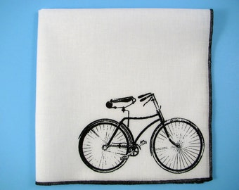 HANKIE -BICYCLE shown on super soft white cotton hanky-or choose from any solid color or plaids shown in pics
