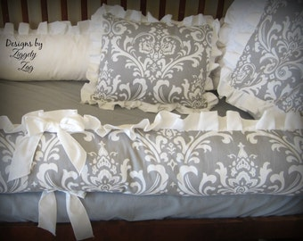 Baby Bedding Gray White Damask Crib Bedding