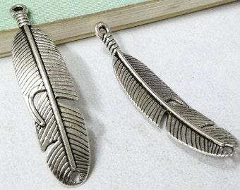 15pcs Antique Silver Curve Feather Connector Charm Pendant for making Bracelet 11x41mm AA502-1