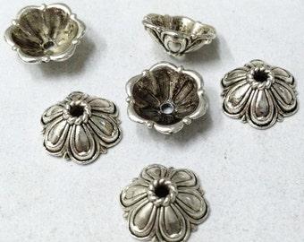 Silver Bead Caps -30pcs Antique Silver Flower End Cap Charms 12mm Tibetan A102-6