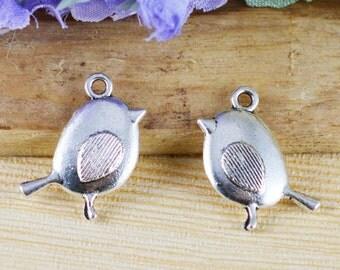Bird Charms -25pcs Antique Silver Swallow Bird Charm Pendants 12x20mm A509-4