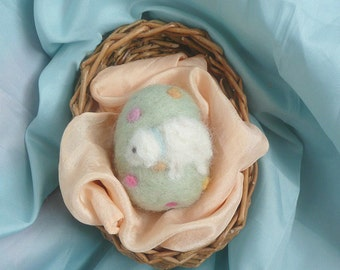 Needle Felted Easter Egg Spring Lamb - Waldorf Inspired Spring Lamb - Seasonal Table - Nature Table - Wool
