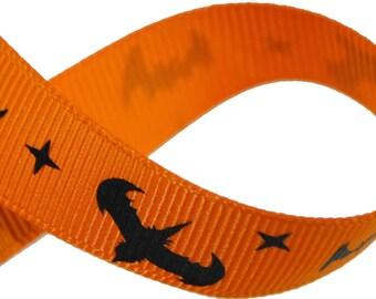 Bats Orange Grosgrain 5/8 inch wide