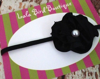 Black Flower Headband - Newborn Flower Headband - Infant Headband - Newborn Headband - Photo Prop - READY TO SHIP