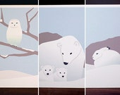 Modern Christmas Card Set - Assorted Winter Animal Holiday Cards (Set of 6)
