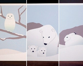 Modern Christmas Card Set - Assorted Winter Animal Holiday Cards (Set of 6)