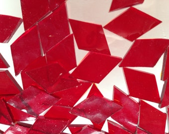 Mosaic Tiles - 100 Small Diamonds - Red Cathedral Stained Glass - Hand-Cut