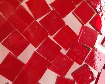 Mosaic Tiles - 100 Small Squares - Red Stained Glass - Hand-Cut