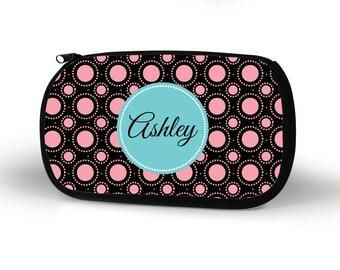 Circles Cosmetic Case, Personalized Cosmetic Bag, Custom, Bridesmaid Gift, Custom Gift, Tech bag, Pencil Case