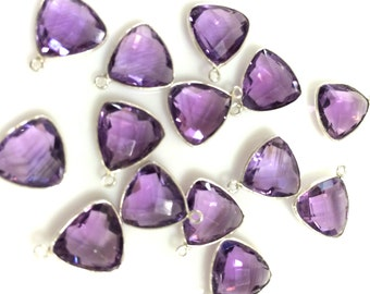 Sold by piece natural purple amethyst checker both sides 10mm sterling silver