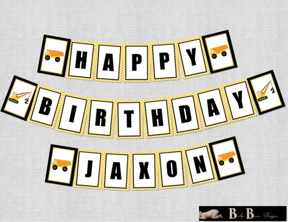 Construction Birthday Party Banner - Printable or Shipped