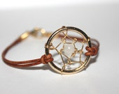 DREAMCATCHER BRACELET made with genuine leather and a moonstone