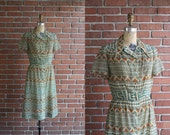 Vintage 1960s Page Stone Dress / 60s Concord pointed collar southwestern aztec print dress / Medium M