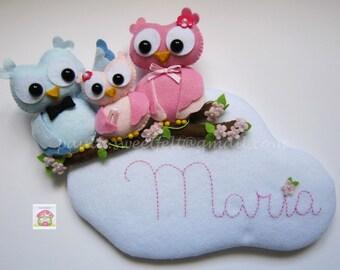 The Owl family sign - name banner / nursery decor / babyroom decor