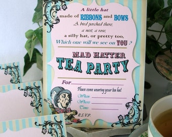 Mad Hatter Birthday Tea Printable Party Pack Kit Instant Download