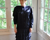 Krizia Couture Dress/Vintage 1980s/Navy Blue Wool Dress/Sculpted Tiered Skirt. Size Medium.