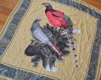 Woodland Pheasants. Vintage Large Square Silk Scarf. Marigold Yellow.