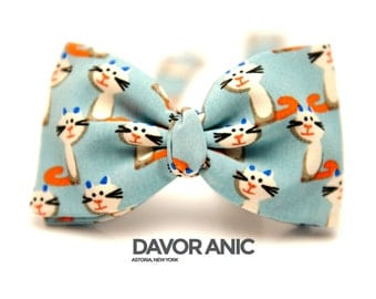 Bow Tie Pre-Tied Light Blue With Cat Print