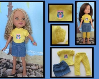 Doll Clothes for H4H and Les Cheries Corolle: Denim Skirt, Owl Tee, and Leggings