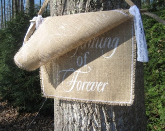 Here Comes The Bride, Burlap Banner, Bride Banner, Rustic Wedding, Burlap Wedding, Burlap and Lace, Beginning of Forever, Rustic Sign