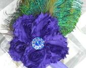 Shabby Headband // Girls Headband // Purple Peacock Shabby Headband
