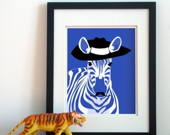 zebra art, funny jungle animal art for children, custom colors, kids childrens art animals with mustaches african zebra wall art