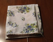 Vintage floral feed sack - blue, green and yellow - stitching intact