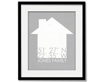 Home GPS Coordinates Housewarming Art Print - New House Family Name Sign - Home Wall Art - Apartment - Condo - Townhouse