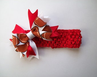 Customizable Football Waffle Headband with Hair Bow - Choose Your Team Colors - Layered Boutique Hairbow - Stretchy Headband
