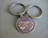 Couples Keychain, Matching Mizpah Coin, Blessing, The Lord Watch Between Me And Thee When We Are Apart, Friendship Gift, Travel