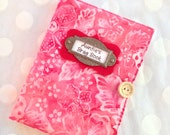 Photo Album Personalized Brag Book holds 48 Pictures - shades of rose batik fabric