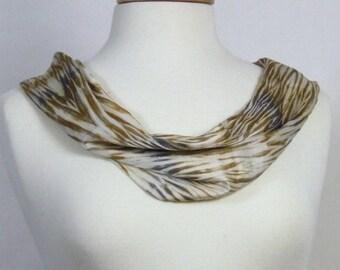 Silk Charmeuse Scarf Hand Dyed Arashi Shibori Gold Toffee Bronze Silver Gray