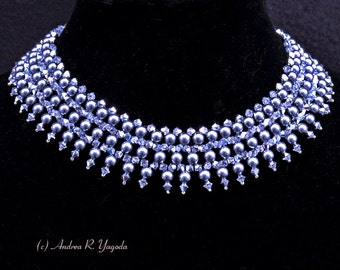 Swarovski Pearl and Crystal Dark Grey and Silver Necklace