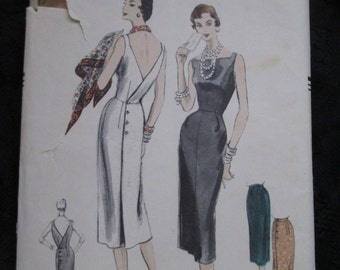1955 VOGUE PATTERN Ladies Wrapped Back Skirt, Sleeveless  Dress or Jumper
