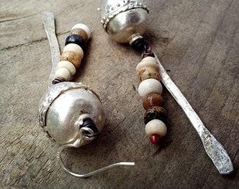 Ethiopian prayer bead rustic tribal dangle earrings