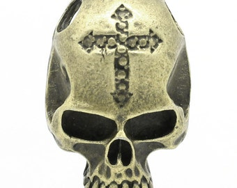 Bronze Skull Charms - Antique Bronze - Carved Cross - 34x23mm - 2 pcs - Ships IMMEDIATELY from California - BC602