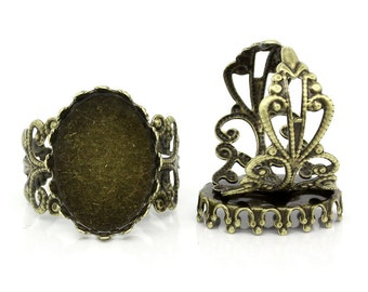 Bronze Cabochon Rings - Filigree - (Holds 18x13mm) - 3pcs -  Ships IMMEDIATELY  from California - A356