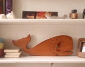 Adorable Handmade Wood Whale Clock