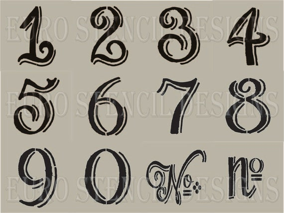 Portaoggetti Design Letters Numbers : Euro stencil designs chalk board hand style shaded numbers
