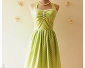 SALE -Green Party Dress Tea Dress Classic Polka Dot Dress Vintage Bridesmaid Dress Green Summer Dress Halter Dress -xs-xl