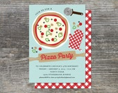 Pizza Party, Cooking Party Birthday Invitation (Digital)