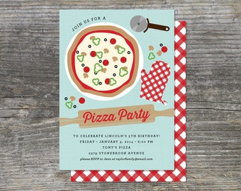 Pizza Party, Cooking Party Birthday Invitation (15 cards)