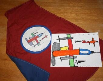 Child's Own Artwork Super Hero Cape - Personalized Super Hero Cape - Kid's Artwork