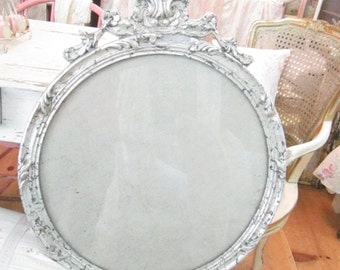Vintage chippy silver  ornate  French frame with glass prairie cottage chic