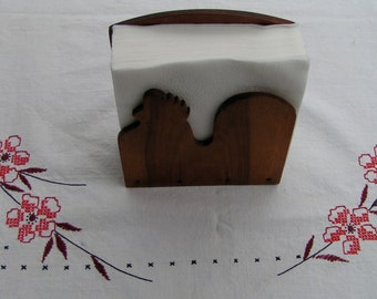 40s 50s CHICKEN Napkin Holder Woodpecker Woodware JAPAN
