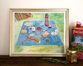 Picnic Blanket Kitchen Art Print