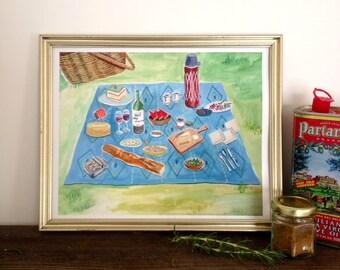Picnic Blanket Kitchen Art Print