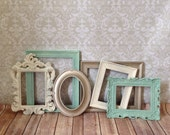 Distressed PICTURE FRAMEs - shabby chic wedding - set of 6 -nursery - Glass N Backing