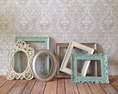 Distressed PICTURE FRAMES - Set of 6 - mint - shabby chic wedding - nursery - Glass N Backing