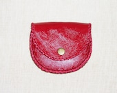 orjinal handmade leather in and out -Leather wallet / coin pouch purse red  leather